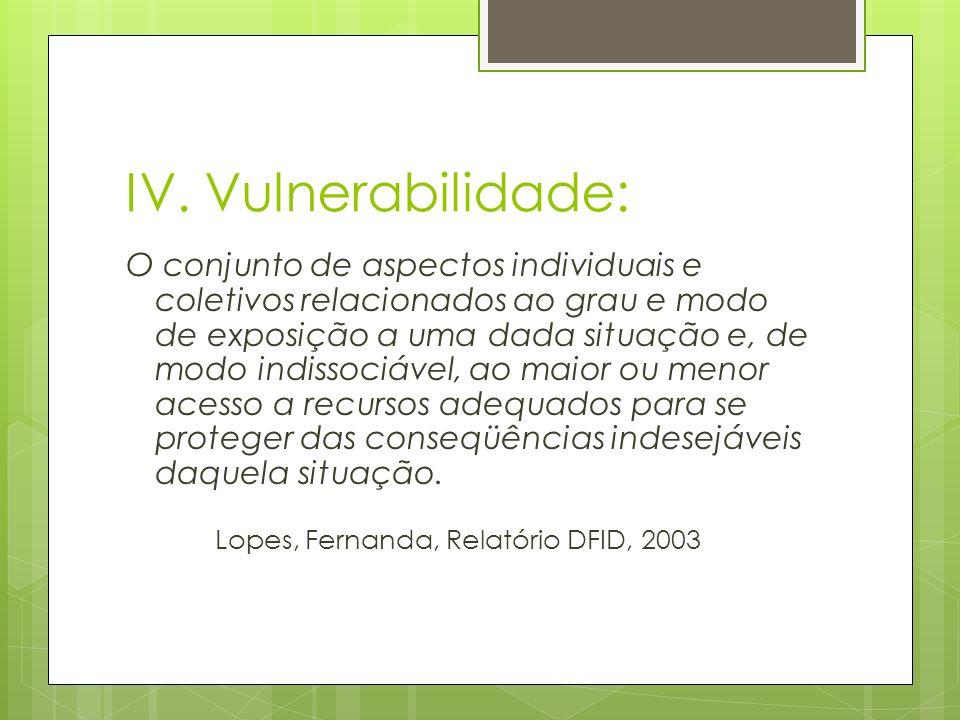 IV. Vulnerabilidade: O conjunto de aspectos individuais e coletivos relacionados ao grau e modo de exposição a uma dada situação e, de modo indissociá