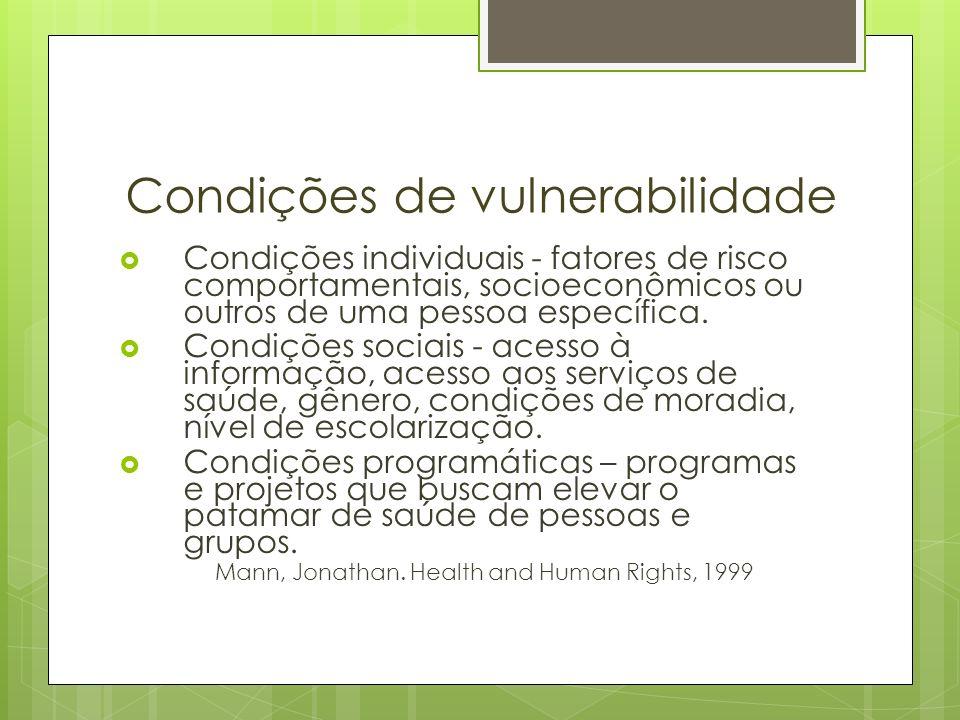Condições de vulnerabilidade Condições individuais - fatores de risco comportamentais, socioeconômicos ou outros de uma pessoa específica. Condições s