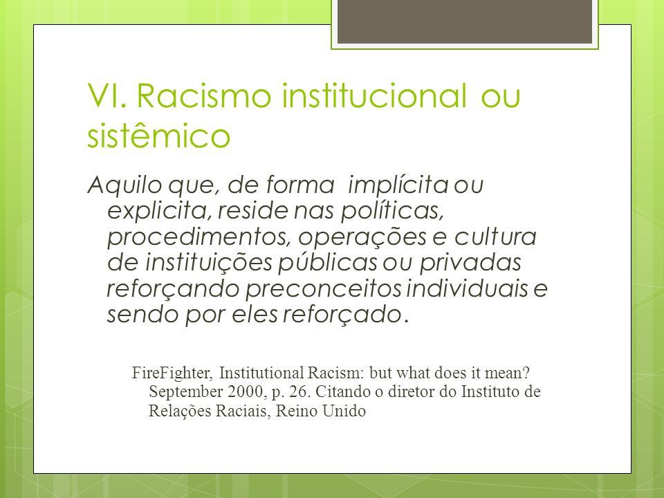VI. Racismo institucional ou sistêmico Aquilo que, de forma implícita ou explicita, reside nas políticas, procedimentos, operações e cultura de instit