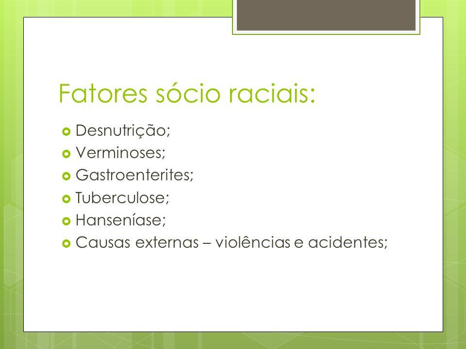 Fatores sócio raciais: Desnutrição; Verminoses; Gastroenterites; Tuberculose; Hanseníase; Causas externas – violências e acidentes;