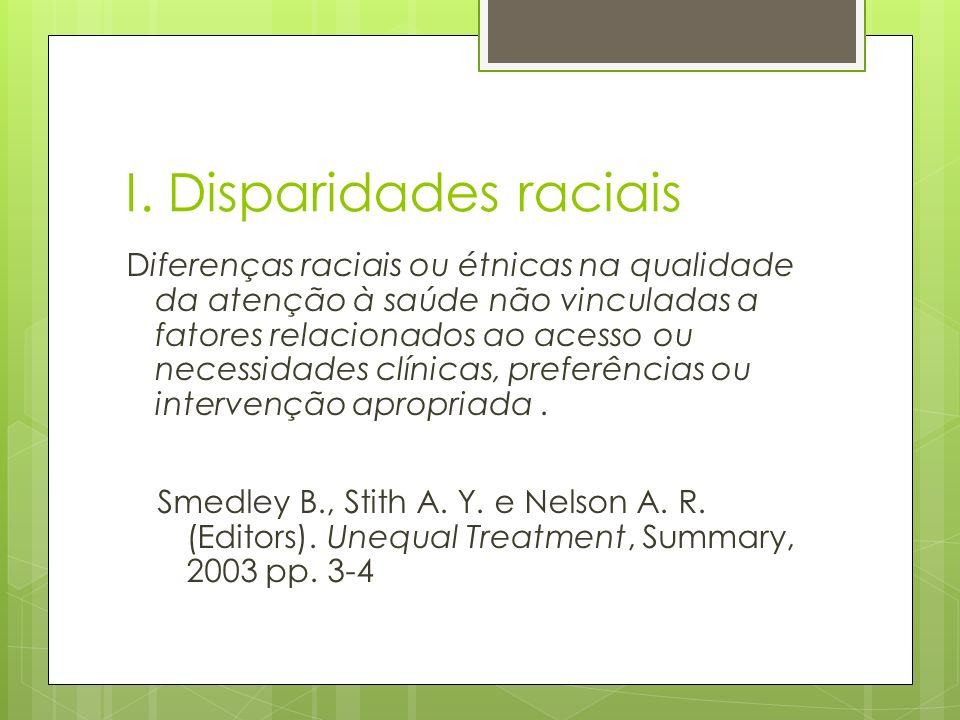 I. Disparidades raciais Diferenças raciais ou étnicas na qualidade da atenção à saúde não vinculadas a fatores relacionados ao acesso ou necessidades