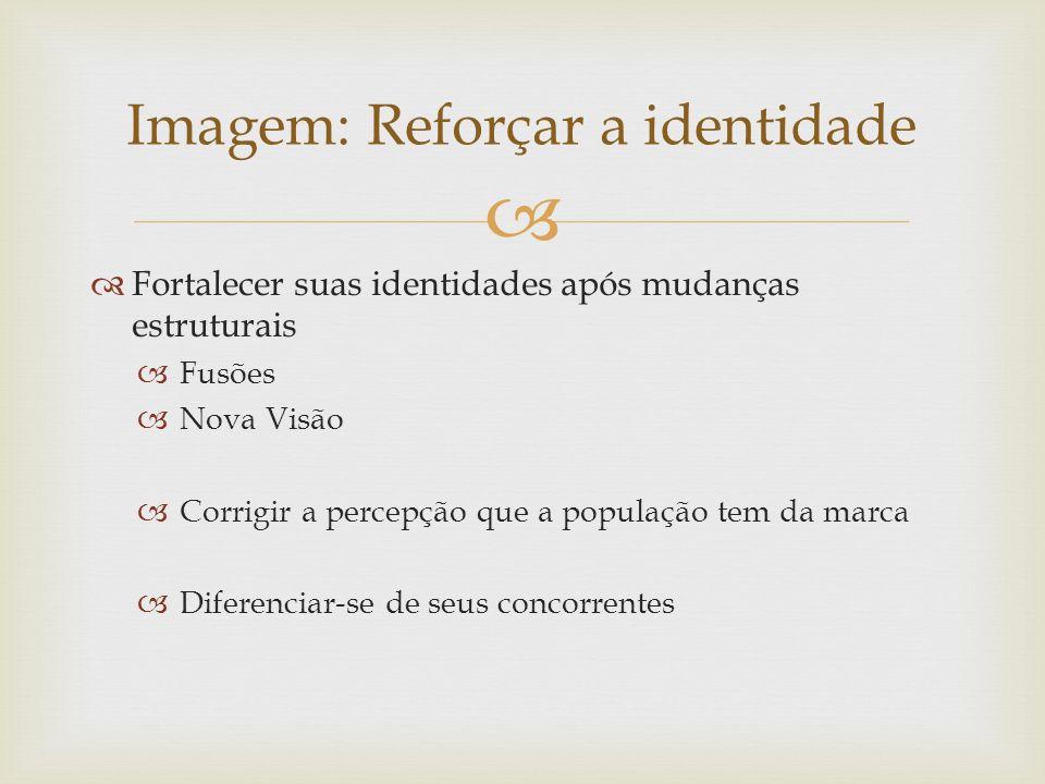 Fortalecer suas identidades após mudanças estruturais Fusões Nova Visão Corrigir a percepção que a população tem da marca Diferenciar-se de seus conco