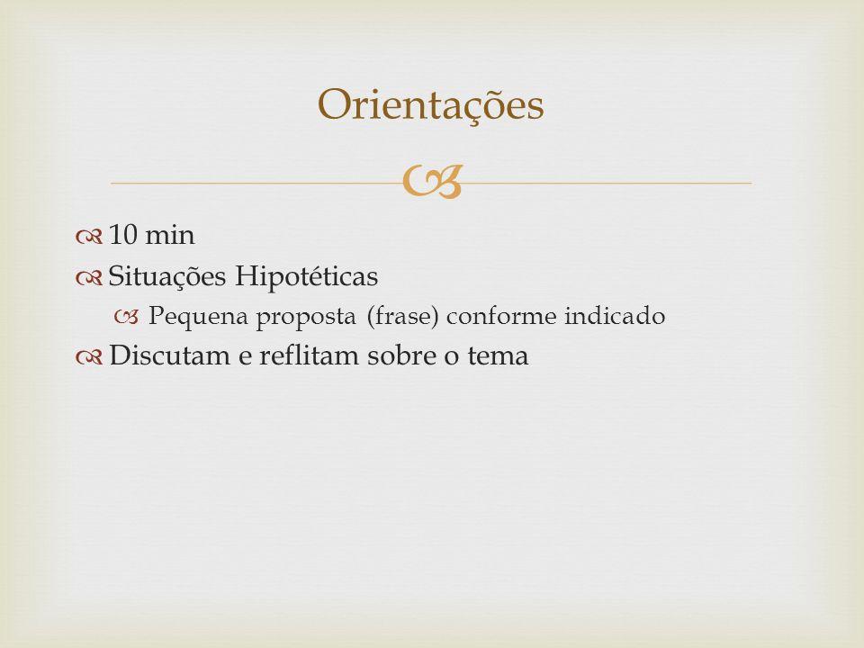 10 min Situações Hipotéticas Pequena proposta (frase) conforme indicado Discutam e reflitam sobre o tema Orientações