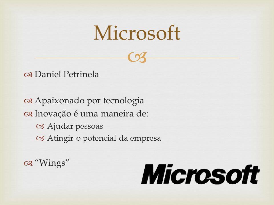 Daniel Petrinela Apaixonado por tecnologia Inovação é uma maneira de: Ajudar pessoas Atingir o potencial da empresa Wings Microsoft