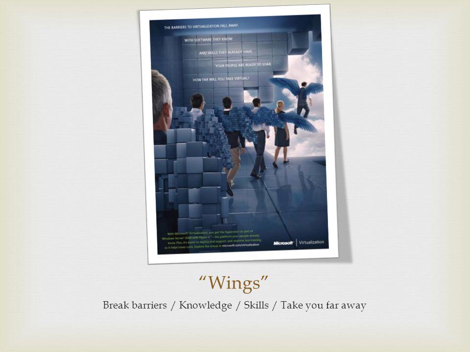 Wings Break barriers / Knowledge / Skills / Take you far away