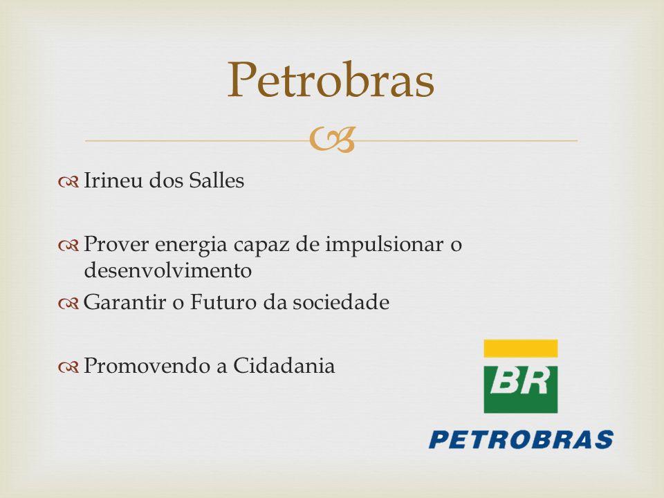 Irineu dos Salles Prover energia capaz de impulsionar o desenvolvimento Garantir o Futuro da sociedade Promovendo a Cidadania Petrobras
