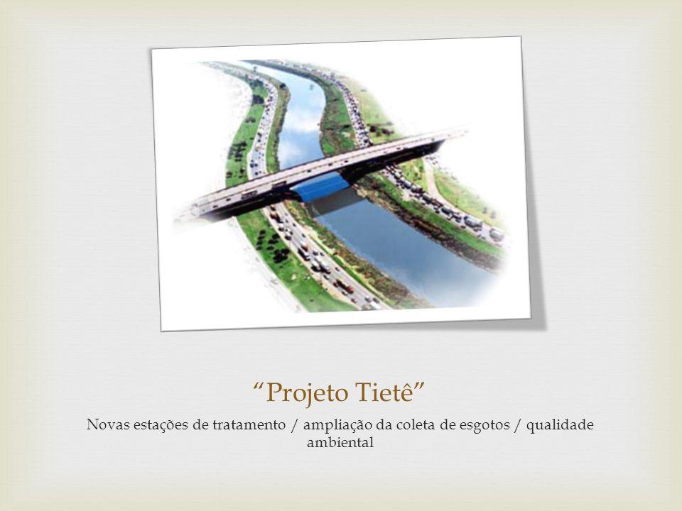 Projeto Tietê Novas estações de tratamento / ampliação da coleta de esgotos / qualidade ambiental