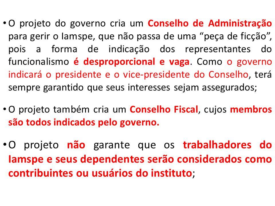 O projeto do governo cria um Conselho de Administração para gerir o Iamspe, que não passa de uma peça de ficção, pois a forma de indicação dos representantes do funcionalismo é desproporcional e vaga.