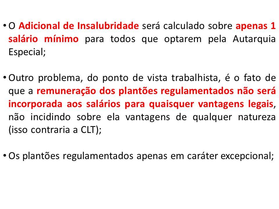 O Adicional de Insalubridade será calculado sobre apenas 1 salário mínimo para todos que optarem pela Autarquia Especial; Outro problema, do ponto de