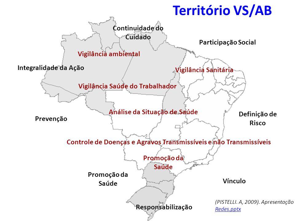 Território VS/AB Continuidade do Cuidado Integralidade da Ação Prevenção Promoção da Saúde Responsabilização Vínculo Definição de Risco Vigilância amb