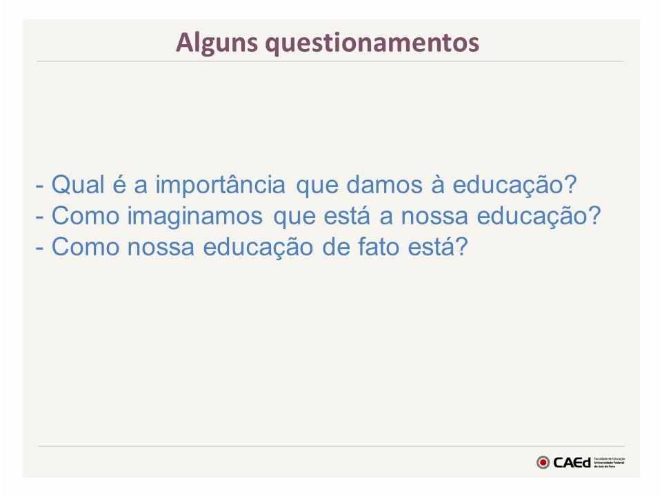 Alguns questionamentos - Qual é a importância que damos à educação.