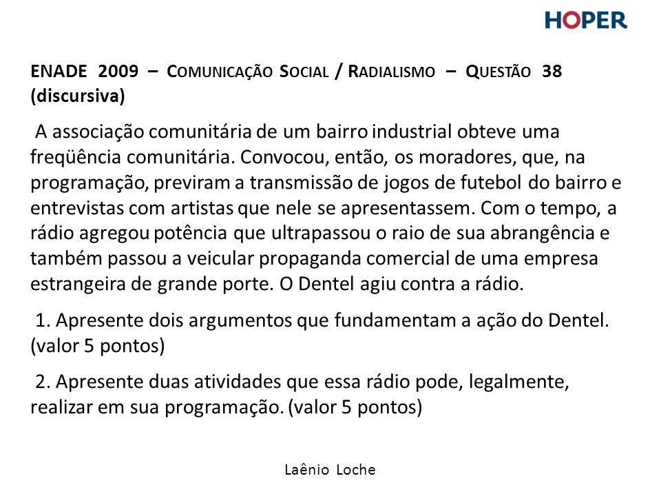 Laênio Loche ENADE 2009 – C OMUNICAÇÃO S OCIAL / R ADIALISMO – Q UESTÃO 38 (discursiva) A associação comunitária de um bairro industrial obteve uma freqüência comunitária.