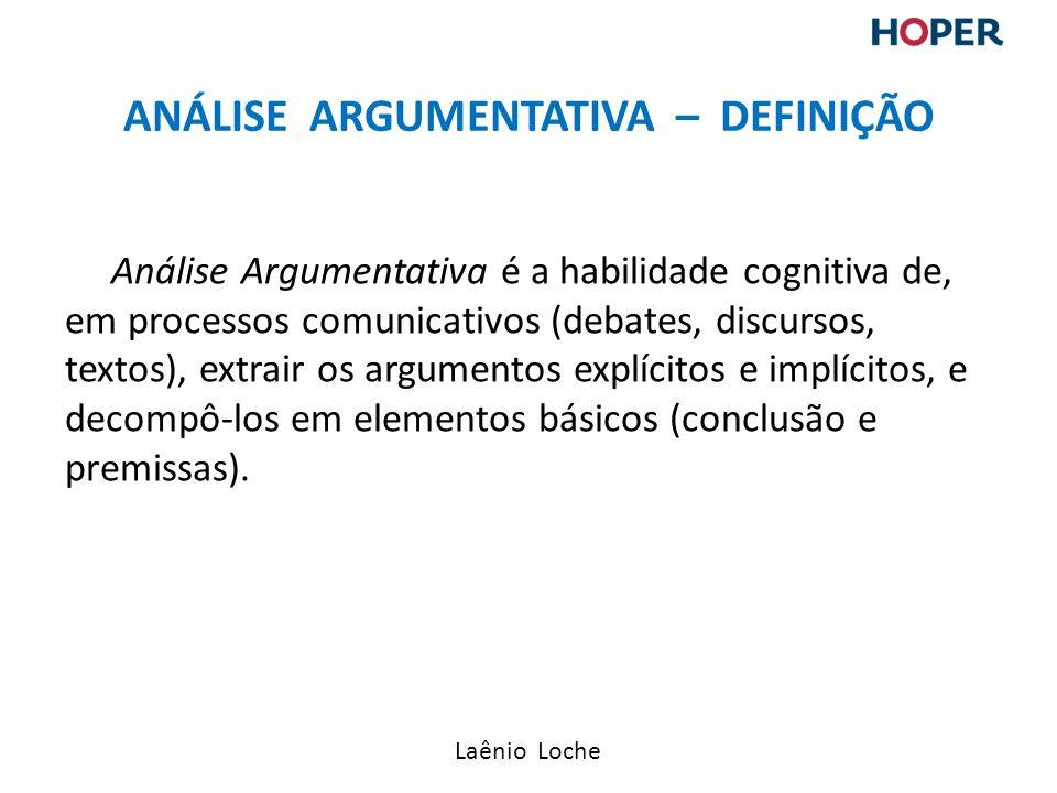 Laênio Loche Análise Argumentativa é a habilidade cognitiva de, em processos comunicativos (debates, discursos, textos), extrair os argumentos explícitos e implícitos, e decompô-los em elementos básicos (conclusão e premissas).