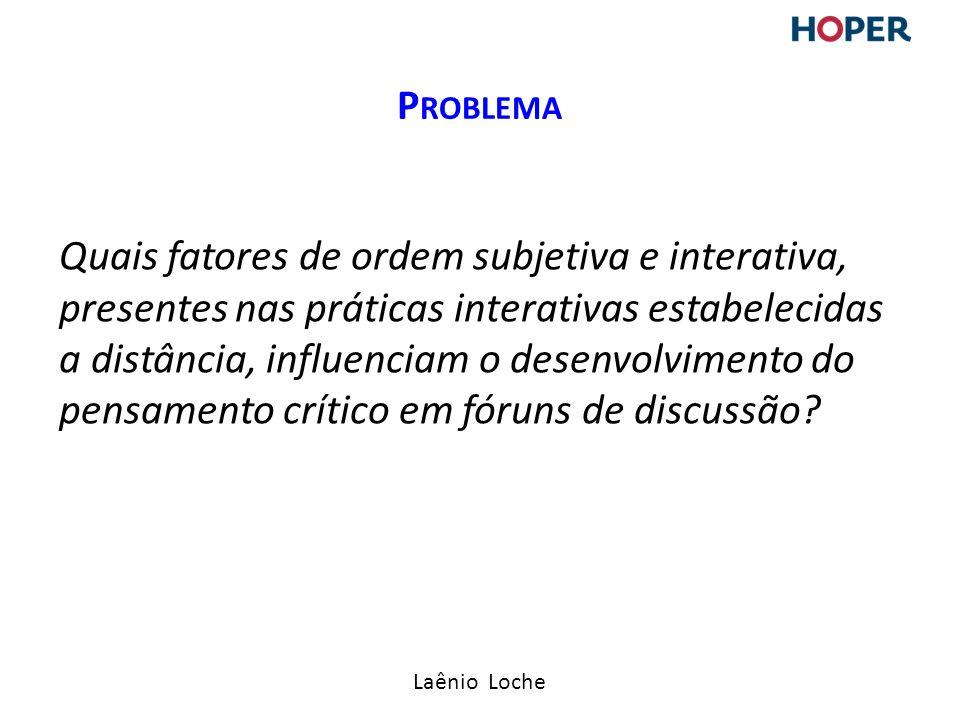 Laênio Loche Quais fatores de ordem subjetiva e interativa, presentes nas práticas interativas estabelecidas a distância, influenciam o desenvolvimento do pensamento crítico em fóruns de discussão.