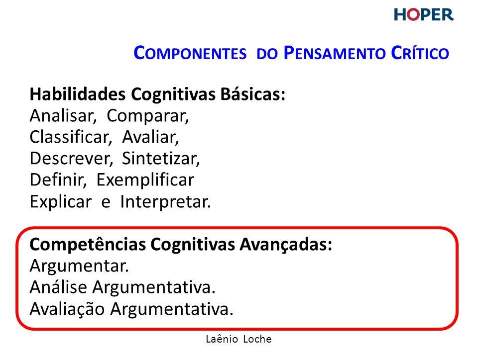 Laênio Loche Habilidades Cognitivas Básicas: Analisar, Comparar, Classificar, Avaliar, Descrever, Sintetizar, Definir, Exemplificar Explicar e Interpretar.