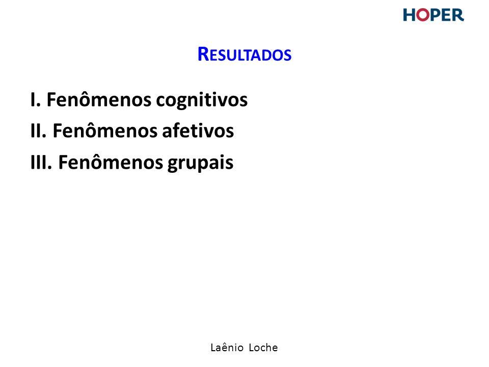 Laênio Loche I. Fenômenos cognitivos II. Fenômenos afetivos III. Fenômenos grupais R ESULTADOS