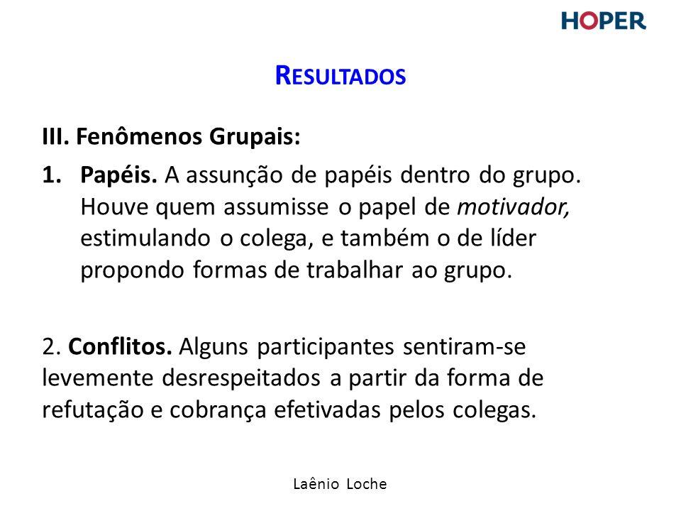 Laênio Loche III.Fenômenos Grupais: 1.Papéis. A assunção de papéis dentro do grupo.