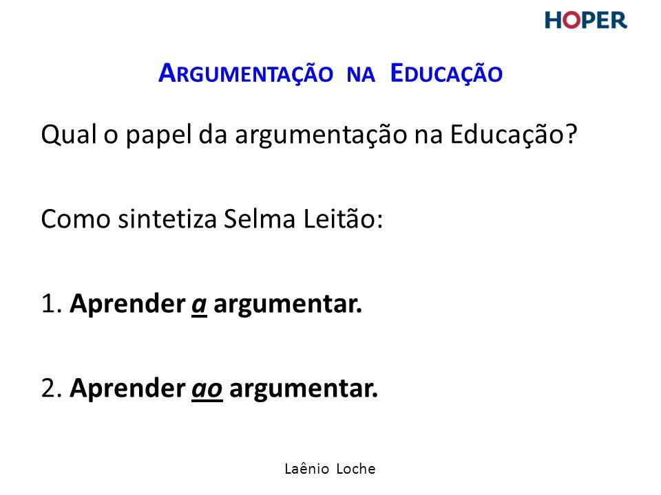 Laênio Loche Qual o papel da argumentação na Educação.