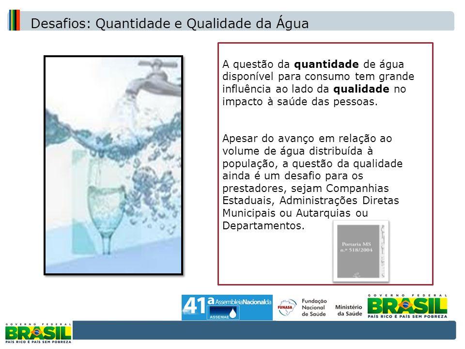 A questão da quantidade de água disponível para consumo tem grande influência ao lado da qualidade no impacto à saúde das pessoas. Apesar do avanço em
