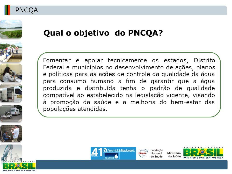 Qual o objetivo do PNCQA? Fomentar e apoiar tecnicamente os estados, Distrito Federal e municípios no desenvolvimento de ações, planos e políticas par