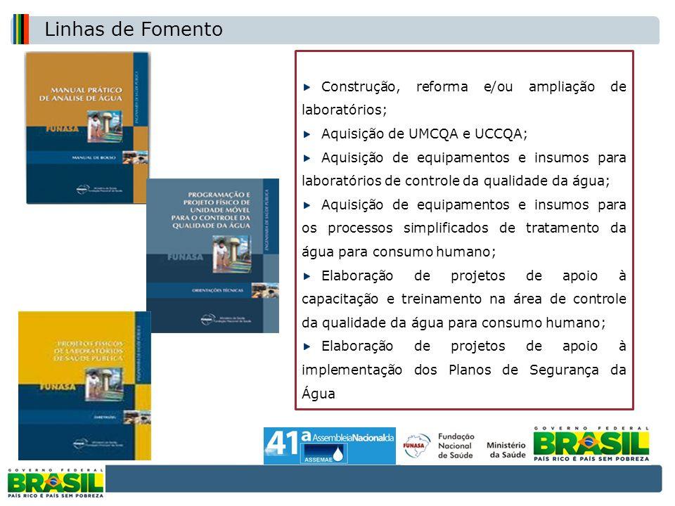 Construção, reforma e/ou ampliação de laboratórios; Aquisição de UMCQA e UCCQA; Aquisição de equipamentos e insumos para laboratórios de controle da q
