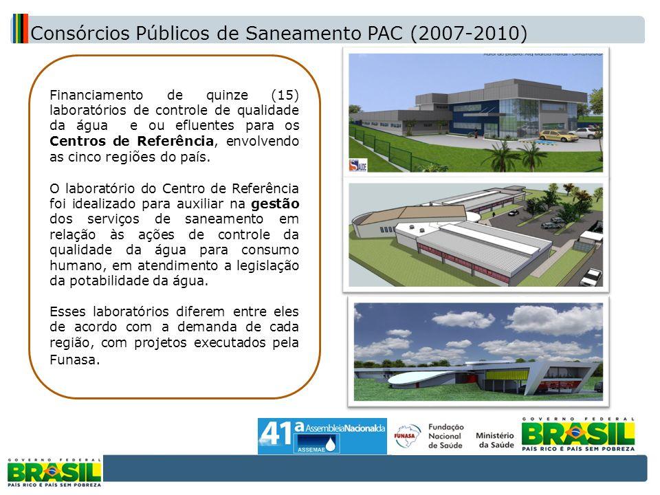 Financiamento de quinze (15) laboratórios de controle de qualidade da água e ou efluentes para os Centros de Referência, envolvendo as cinco regiões d