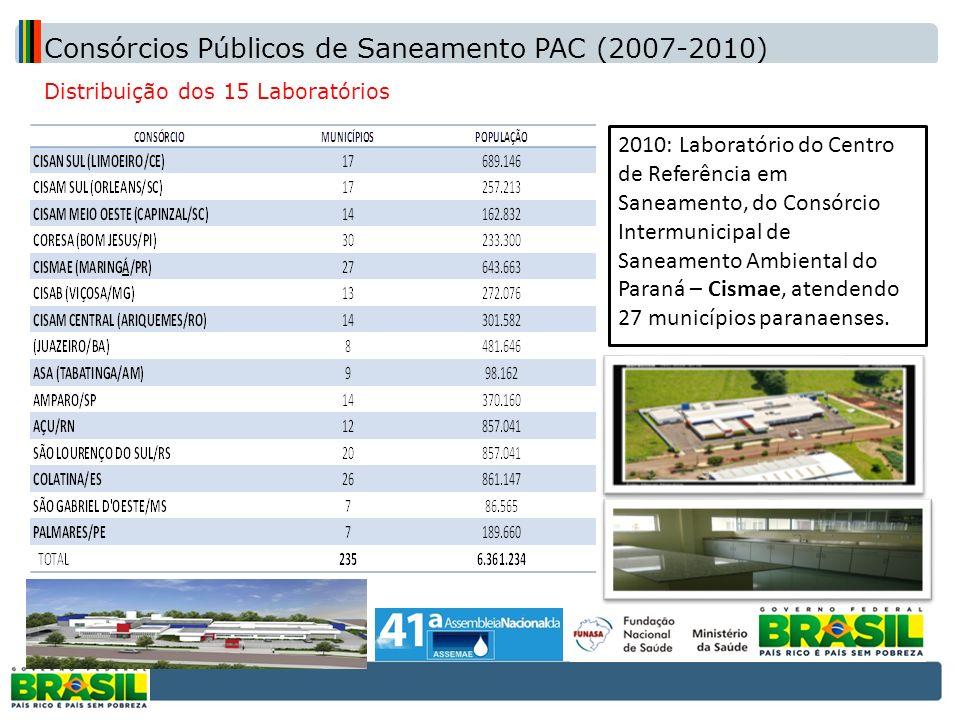 Distribuição dos 15 Laboratórios 2010: Laboratório do Centro de Referência em Saneamento, do Consórcio Intermunicipal de Saneamento Ambiental do Paran
