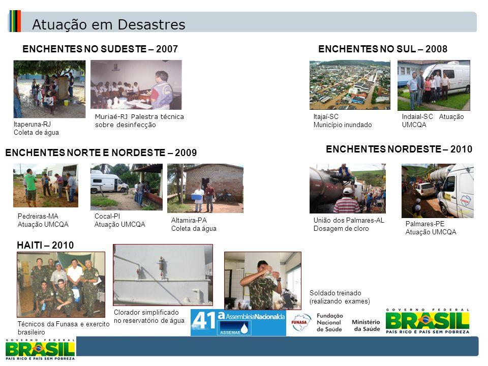 ENCHENTES NO SUDESTE – 2007ENCHENTES NO SUL – 2008 Itajaí-SC Município inundado ENCHENTES NORTE E NORDESTE – 2009 Pedreiras-MA Atuação UMCQA Cocal-PI