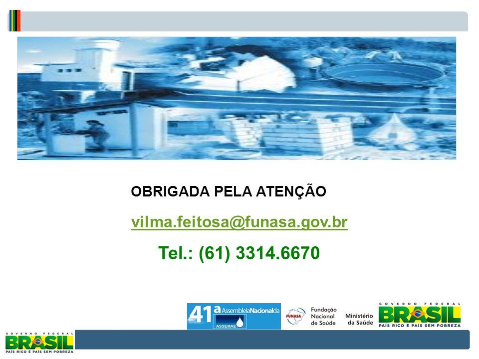 FIM vilma.feitosa@funasa.gov.br Tel.: (61) 3314.6670 OBRIGADA PELA ATENÇÃO