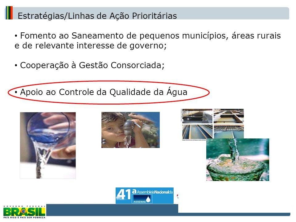 Estratégias/Linhas de Ação Prioritárias Fomento ao Saneamento de pequenos municípios, áreas rurais e de relevante interesse de governo; Cooperação à G