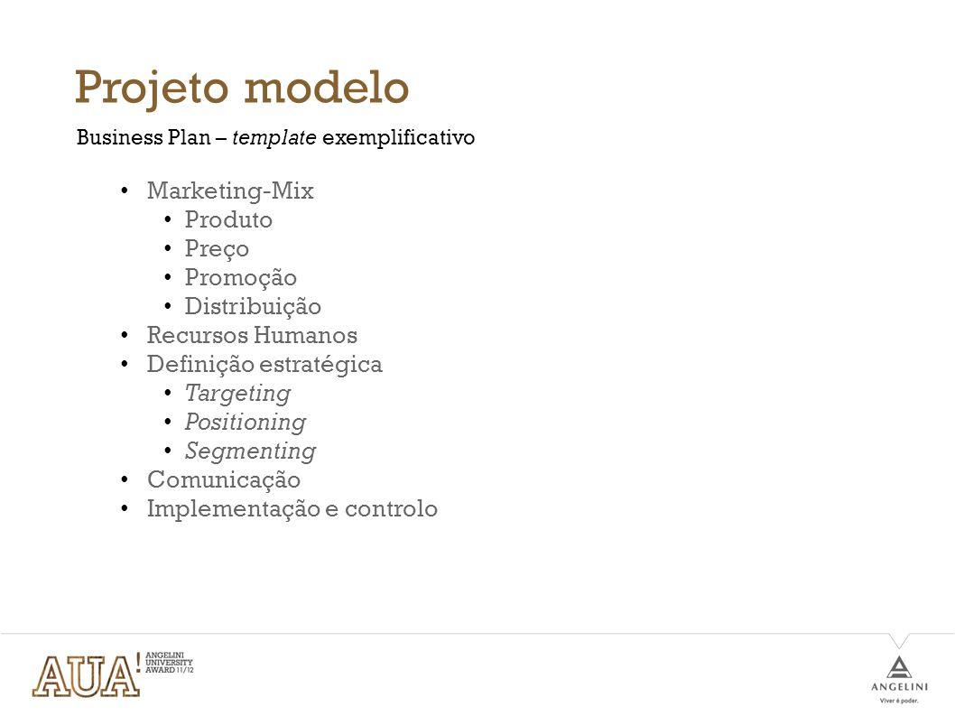Projeto modelo Marketing-Mix Produto Preço Promoção Distribuição Recursos Humanos Definição estratégica Targeting Positioning Segmenting Comunicação I