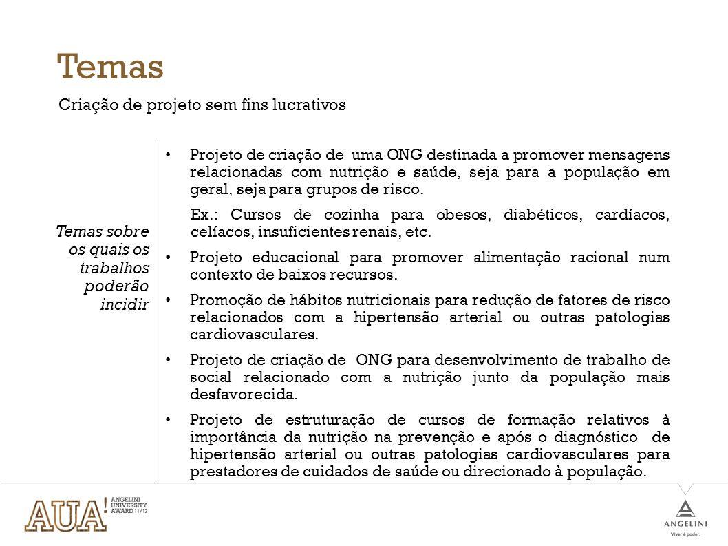 Temas Criação de projeto sem fins lucrativos Temas sobre os quais os trabalhos poderão incidir Projeto de criação de uma ONG destinada a promover mens
