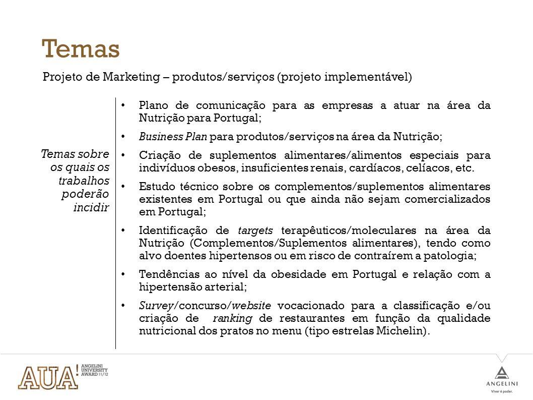 Critérios de avaliação Definição do Marketing Mix Definição estratégica (Targeting, positioning, segmenting…) Definição do problema Financiamento Criatividade Plano de implementação Apresentação formal (Relatório e apresentação pública) Inovação Adaptabilidade do projeto