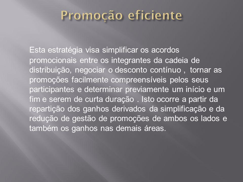 Esta estratégia visa simplificar os acordos promocionais entre os integrantes da cadeia de distribuição, negociar o desconto contínuo, tornar as promo