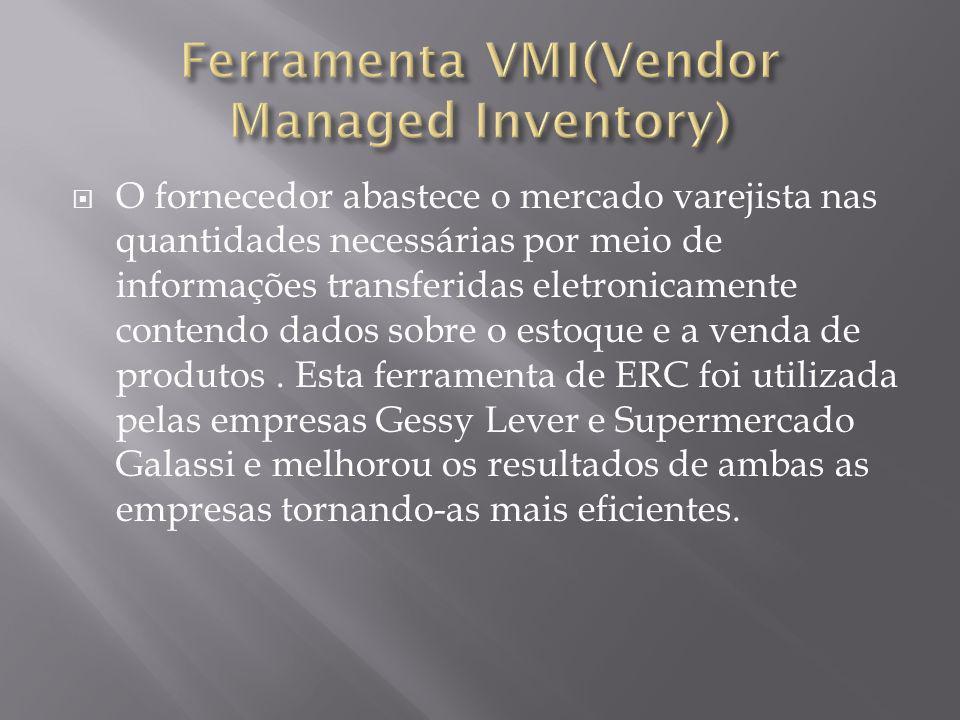 O fornecedor abastece o mercado varejista nas quantidades necessárias por meio de informações transferidas eletronicamente contendo dados sobre o esto