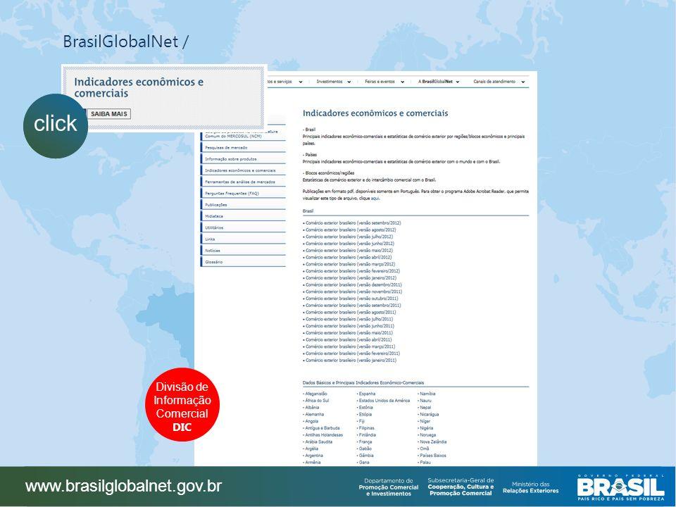 BrasilGlobalNet / www.brasilglobalnet.gov.br click Divisão de Informação Comercial DIC