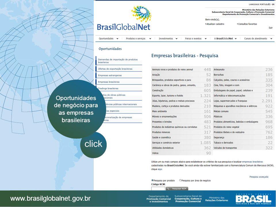 www.brasilglobalnet.gov.br click Oportunidades de negócio para as empresas brasileiras