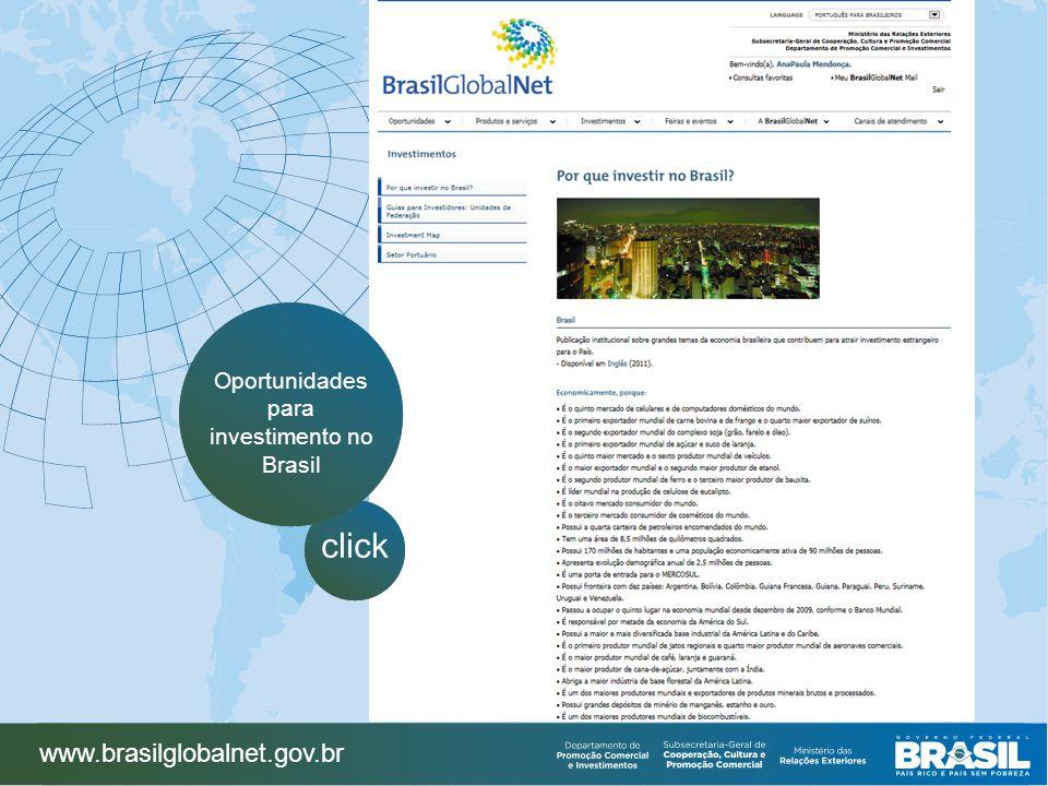 www.brasilglobalnet.gov.br click Oportunidades para investimento no Brasil