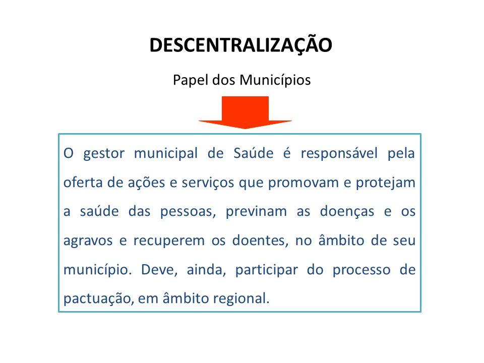 DESCENTRALIZAÇÃO O gestor municipal de Saúde é responsável pela oferta de ações e serviços que promovam e protejam a saúde das pessoas, previnam as do