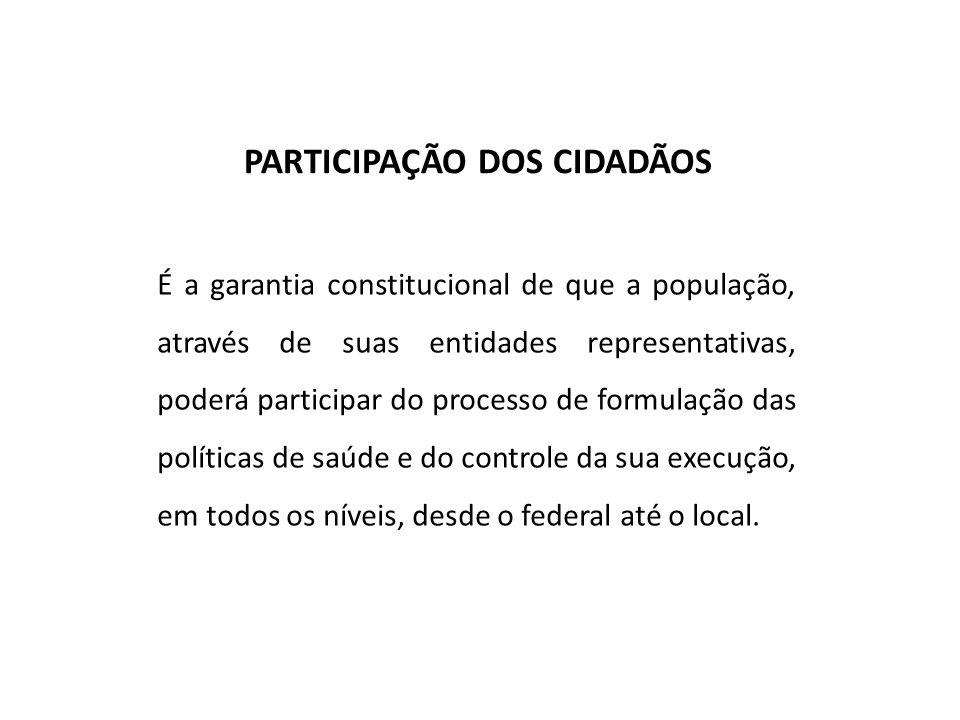 PARTICIPAÇÃO DOS CIDADÃOS É a garantia constitucional de que a população, através de suas entidades representativas, poderá participar do processo de