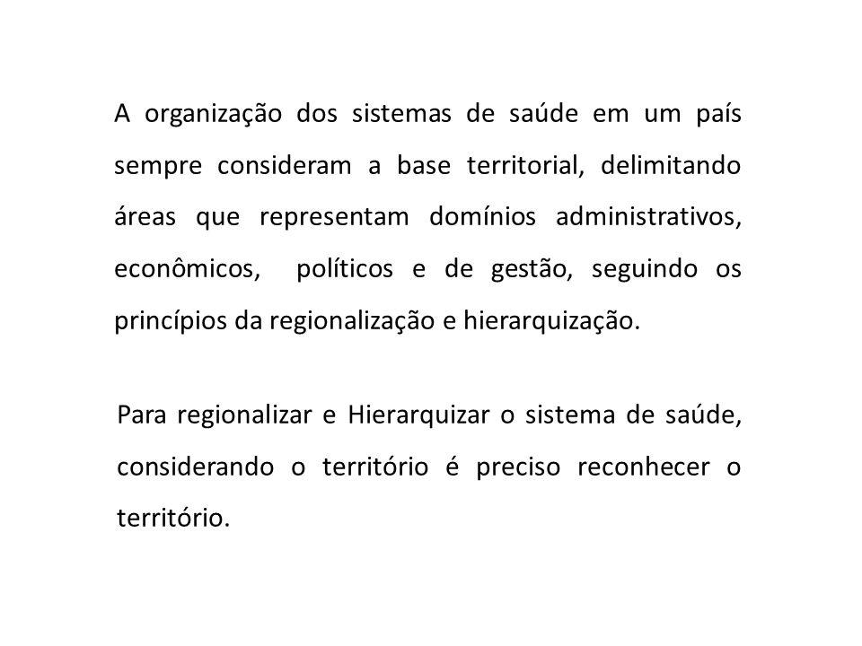 A organização dos sistemas de saúde em um país sempre consideram a base territorial, delimitando áreas que representam domínios administrativos, econô