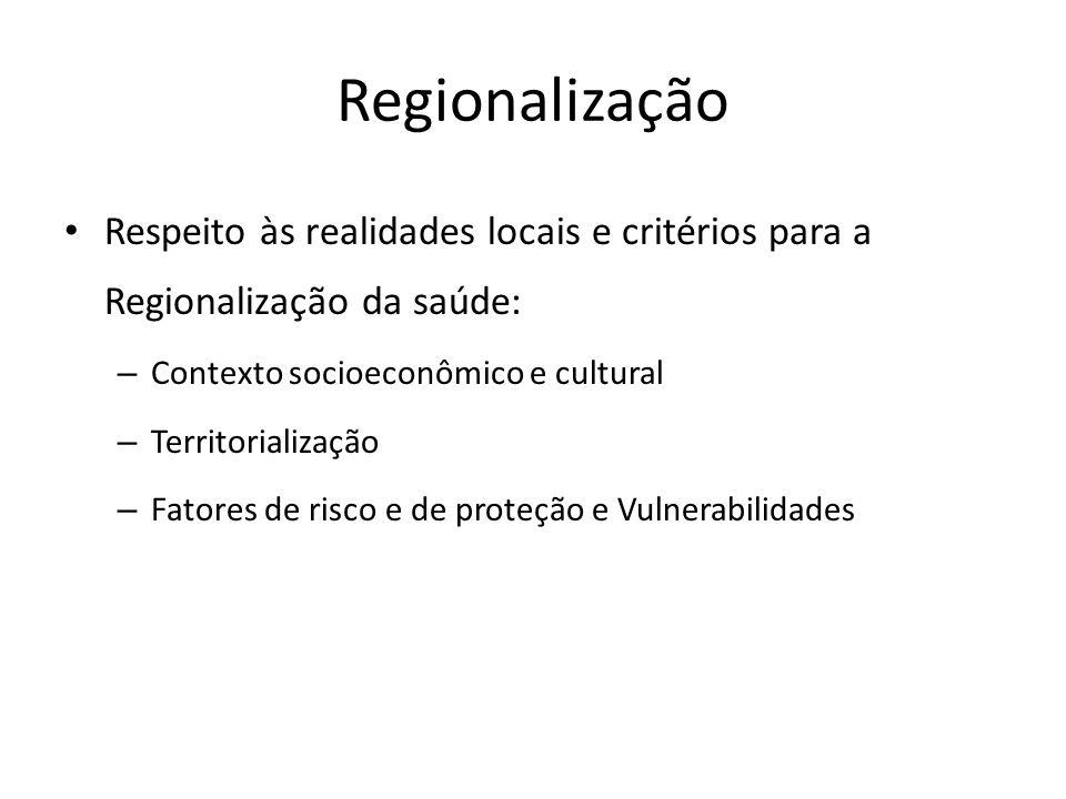 Regionalização Respeito às realidades locais e critérios para a Regionalização da saúde: – Contexto socioeconômico e cultural – Territorialização – Fa