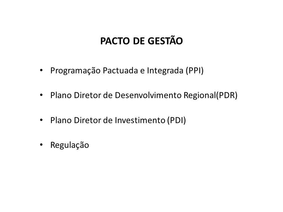 Programação Pactuada e Integrada (PPI) Plano Diretor de Desenvolvimento Regional(PDR) Plano Diretor de Investimento (PDI) Regulação PACTO DE GESTÃO