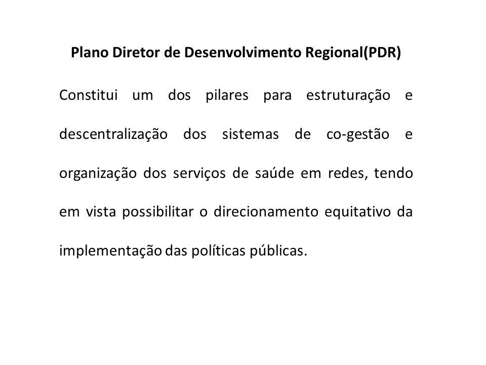Plano Diretor de Desenvolvimento Regional(PDR) Constitui um dos pilares para estruturação e descentralização dos sistemas de co-gestão e organização d