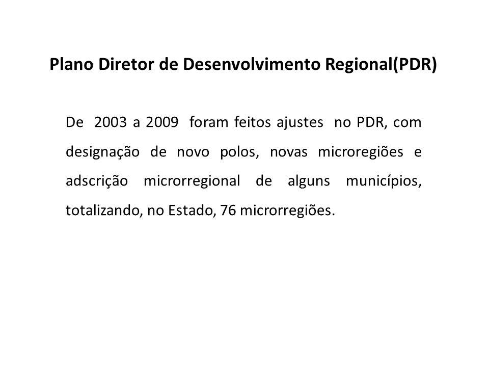 De 2003 a 2009 foram feitos ajustes no PDR, com designação de novo polos, novas microregiões e adscrição microrregional de alguns municípios, totaliza