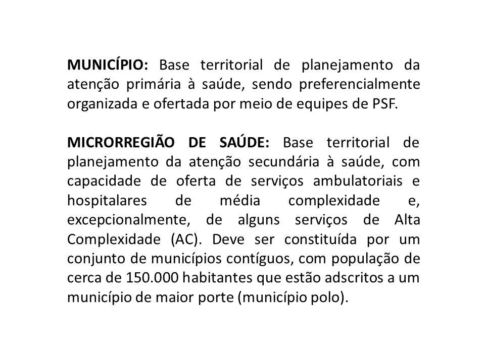 MUNICÍPIO: Base territorial de planejamento da atenção primária à saúde, sendo preferencialmente organizada e ofertada por meio de equipes de PSF. MIC