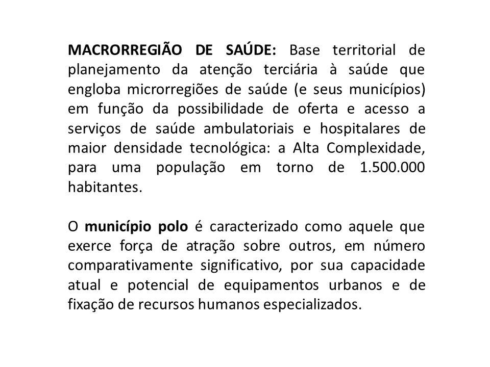 MACRORREGIÃO DE SAÚDE: Base territorial de planejamento da atenção terciária à saúde que engloba microrregiões de saúde (e seus municípios) em função