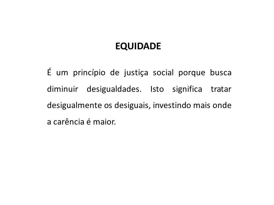 EQUIDADE É um princípio de justiça social porque busca diminuir desigualdades. Isto significa tratar desigualmente os desiguais, investindo mais onde
