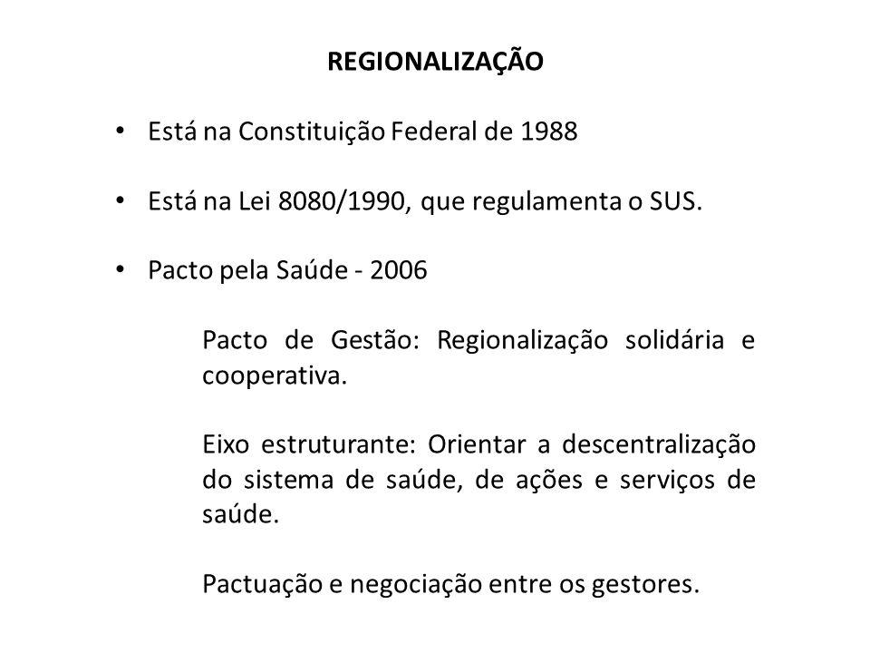 REGIONALIZAÇÃO Está na Constituição Federal de 1988 Está na Lei 8080/1990, que regulamenta o SUS. Pacto pela Saúde - 2006 Pacto de Gestão: Regionaliza