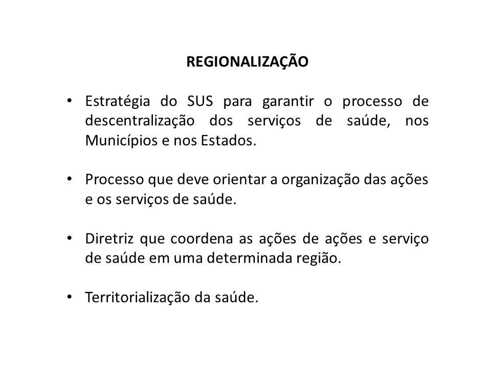 REGIONALIZAÇÃO Estratégia do SUS para garantir o processo de descentralização dos serviços de saúde, nos Municípios e nos Estados. Processo que deve o